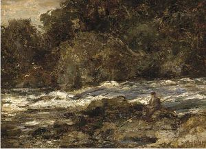 An Angler On The Bank Of A Rocky River