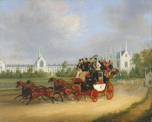 The 'tally-ho' London - Birmingham Stage Coach Passing Whittington College, Highgate