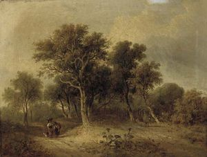 Travellers On A Wooded Track