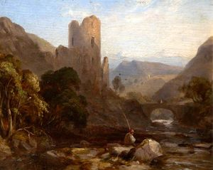 A Man Fishing In A Stream By A Ruined Castle