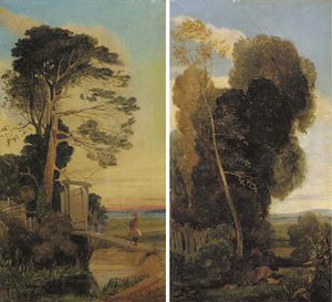 An Angler On A Bridge; And A Rabbit Catcher In A Wooded Landscape