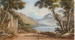 数字和 羊 上 车道 , 通过 Tal-y-llyn 湖 , 附近 cader idris山 , 北 威尔士