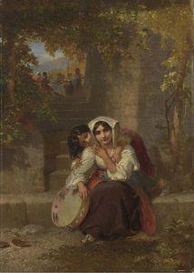 An Italian Girl With A Tambourain On A Terrace