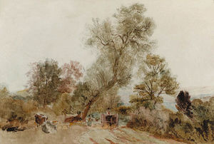 Figures And A Horse And Cart On A Country Track
