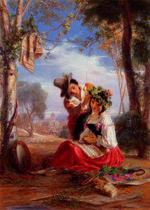 Un Napoletano Ragazzo Decorazione la testa del suo Innamorata al Festa del Madonna Dell'arco