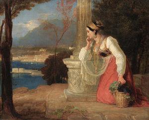 Castellamare - Un Napoletano ragazza in ginocchio di un Colonna , in possesso di un cesto di frutta , con una vista di Porto Sotto