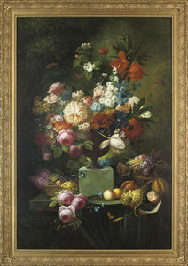 Parrot Tulips, Chrysanthemums, Roses, Corn Flowers, Lilies And Narcissus In An Urn, With Fruit In Wicker Baskets And On A Platter To The Side, On A Stone Ledge