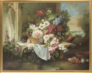Roses, Peonies, Daisies And Other Flowers In A Basket, On A Ledge, A Landscape Beyond