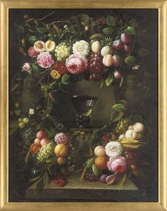Roses, Tulips, Peonies, Grapes, Lemons And Butterflies, With A Roemer On A Ledge; And Roses, Grapes, Peaches, Thistles And Corn, With A Roemer On A Ledge