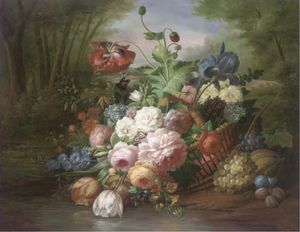 Summer Flowers And Fruit In A Wicker Basket, An Extensive Landscape Beyond