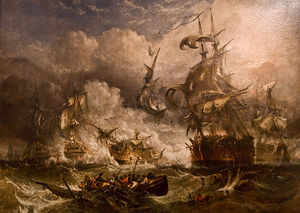 A Painting Of The Battle Of Camperdown