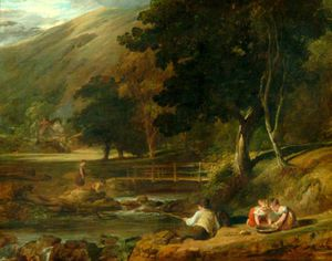 Borrowdale, Cumberland, With Children Playing By The Banks Of A Brook