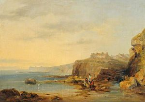 Coastal Scene With Fishermen And Their Baskets On The Shore