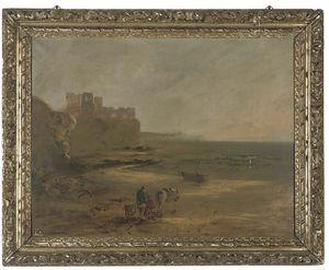 Рыболов на Бич , разрушенный замок на скале вверх beyond