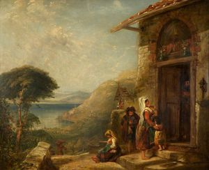 Poor Travellers At The Door Of A Capuchin Convent Near Vico, Bay Of Naples
