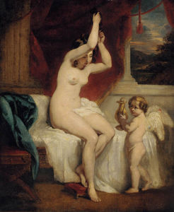 A Seated Female Nude With A Cherub Holding A Gold Water Jug, In An Interior With A Landscape Beyond
