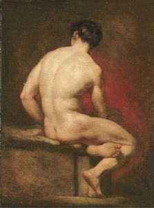 Male Nude From Behind, Seated
