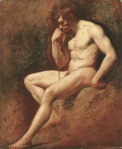 Male Nude, Seated, Leaning On A Staff