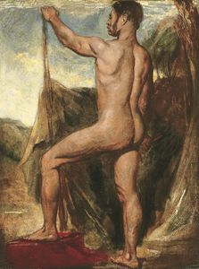 Male Nude, Small-full-length, In A Landscape