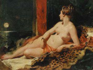 Venus Reclining, Holding An Arrow, Looking Towards A Full Moon