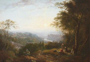 A River Landscape With Two Bridges, A Ruined Abbey, Castle And Boys In A Wood