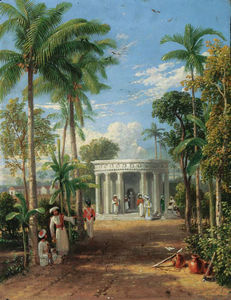 An Indian Garden Scene With European And Indian Figures By A Classical Mausoleum