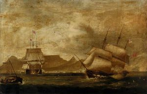 A Man-of-war And An East Indiaman In Table Bay