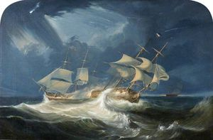 Hms 'indefatigable' Accompanied By Hm 'amazon' Attacking The French Ship 'les Droits Des Hommes'