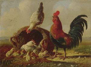 A Chicken Family By A Wicker Basket