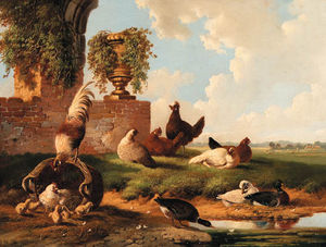 Rooster, Ducks, Chickens And Chicks By A Ruin Along A Stream