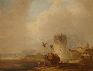 Coast Scene With A Boat Beached By A Martello Tower
