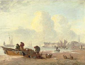 A Coastal Scene With Fisherfolk In The Foreground