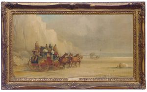 London-dover Mail Coach Ferrying A River; And A Companion Painting
