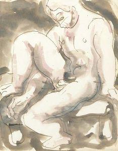 Naked Boy On A Stool