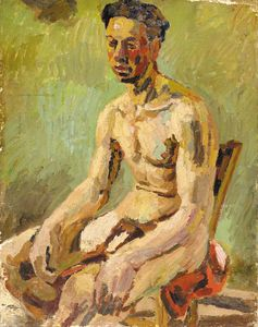 Seated Male Nude -