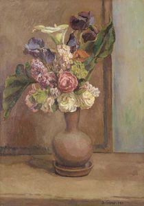 Spring Flowers In An Earthenware Vase