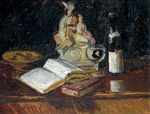 Still Life With A Staffordshire Figure And A Wine Bottle