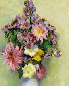 natura morta fiori contro  Un  vaso