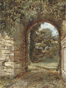An Ivy-clad Arch With A View To A Garden Beyond