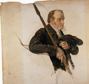 Man Holding A Pike And A Bonnet