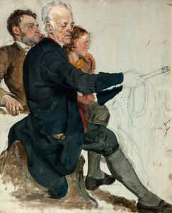 Two Seated Men And A Standing Boy (study For 'the Covenanters' Baptism