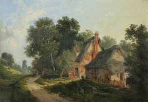 Thatched Farm Buildings By A Woodland Path