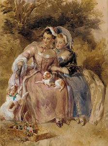 Two Young Ladies Seated In A Wooded Landscape With Two King Charles Spaniels