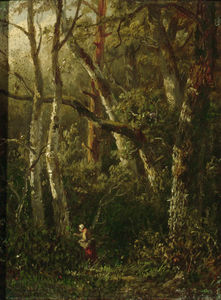 A Woman Picking Berries In The Woods