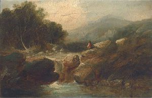 An Angler In A River Landscape