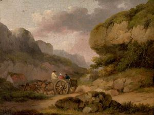 Landscape With Horses, Cart And Figures