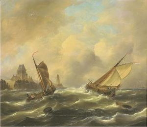 Sailing In A Stiff Breeze By A Coast -