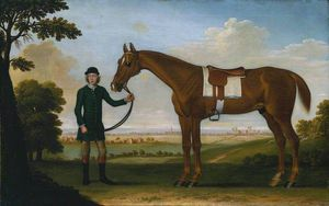 Chestnut Horse With A Groom Near Newmarket