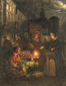 The Market Stall By Lamplight