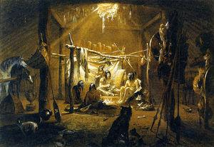 Interior Of The Hut Of A Mandan Chief